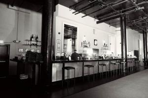 Long Bar View in black and white